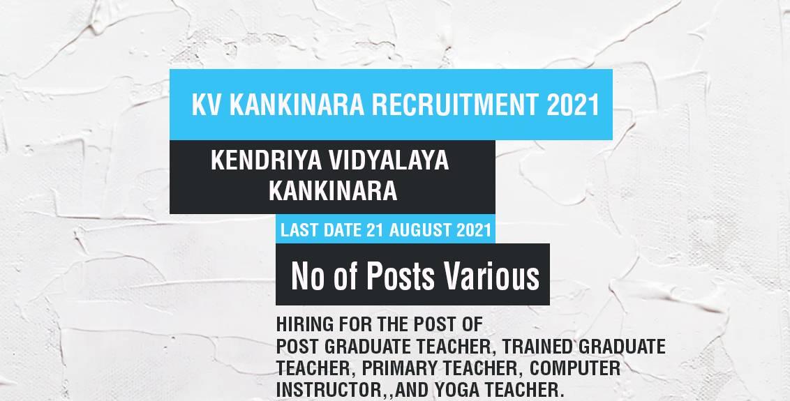 KV Kankinara Recruitment 2021 Job Listing thumbnail.