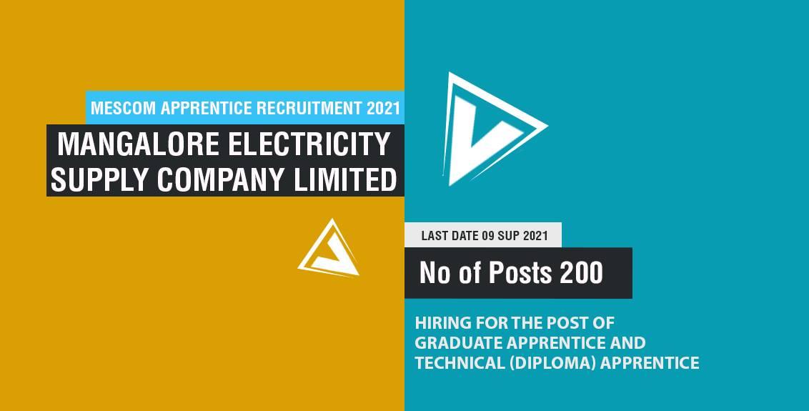 MESCOM Apprentice Recruitment 2021 Job Listing thumbnail.