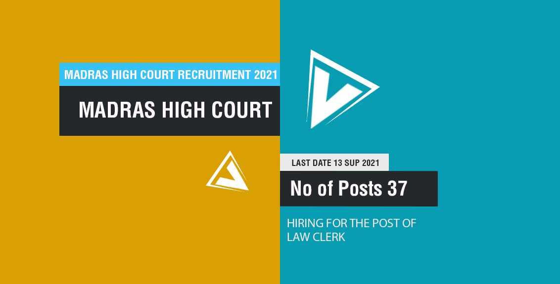 Madras High Court Recruitment 2021 Job Listing thumbnail.