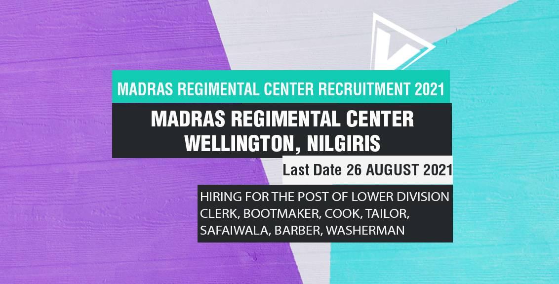 Madras Regimental Center Recruitment 2021 Job Listing thumbnail.