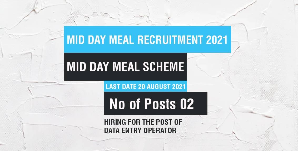 Mid Day Meal Recruitment 2021 Job Listing thumbnail.