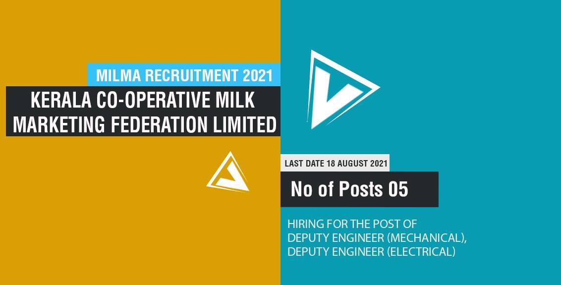 Milma Recruitment 2021 Job Listing thumbnail.