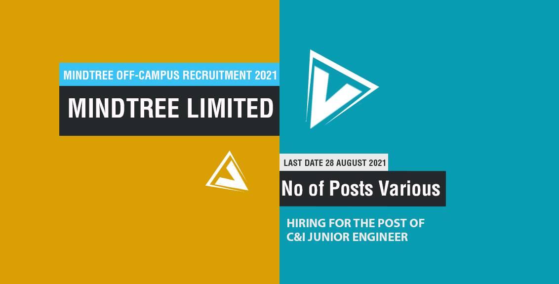 MindTree Off-Campus Recruitment 2021 Job Listing thumbnail.