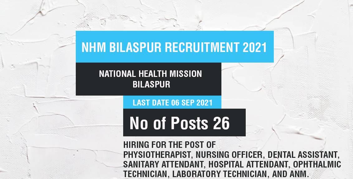 NHM Bilaspur Recruitment 2021 Job Listing thumbnail.