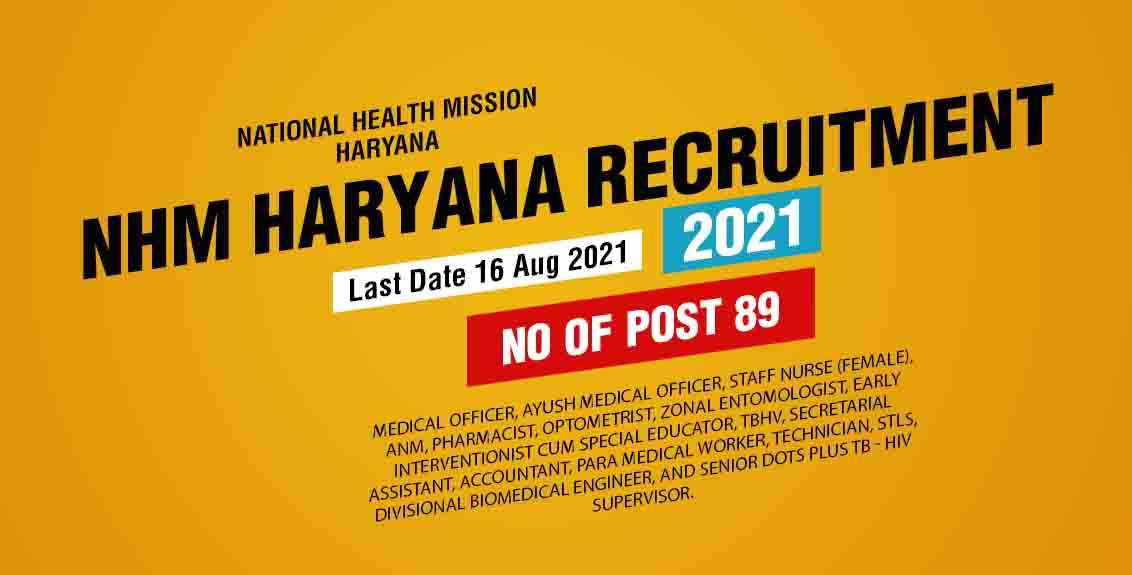 NHM Haryana Recruitment 2021 Job Listing thumbnail.