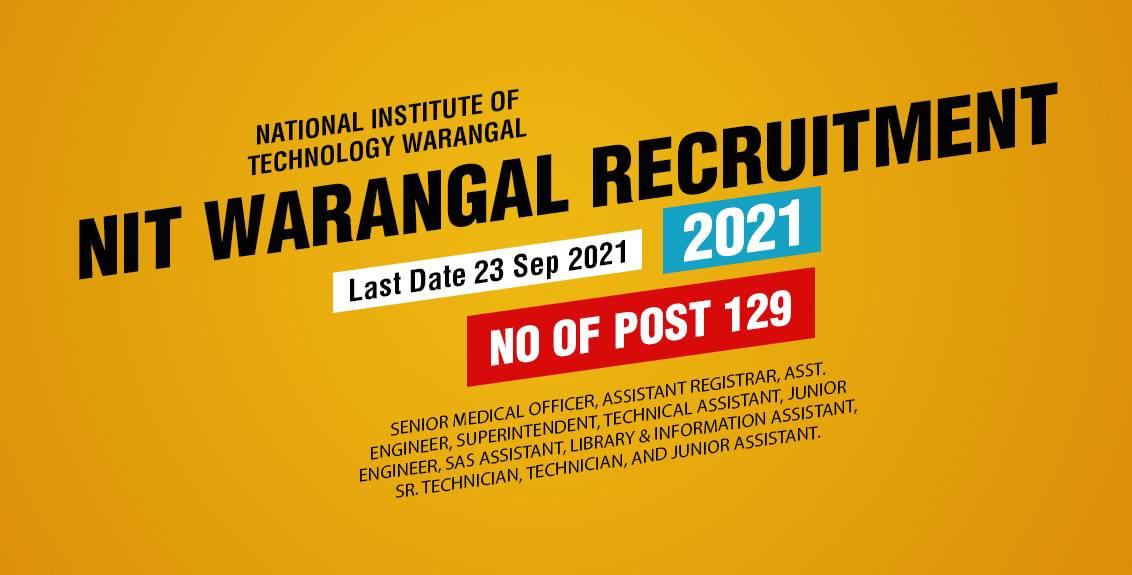 NIT Warangal Recruitment 2021 Job Listing thumbnail.