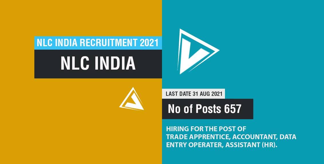 NLC India Recruitment 2021 Job Listing thumbnail.