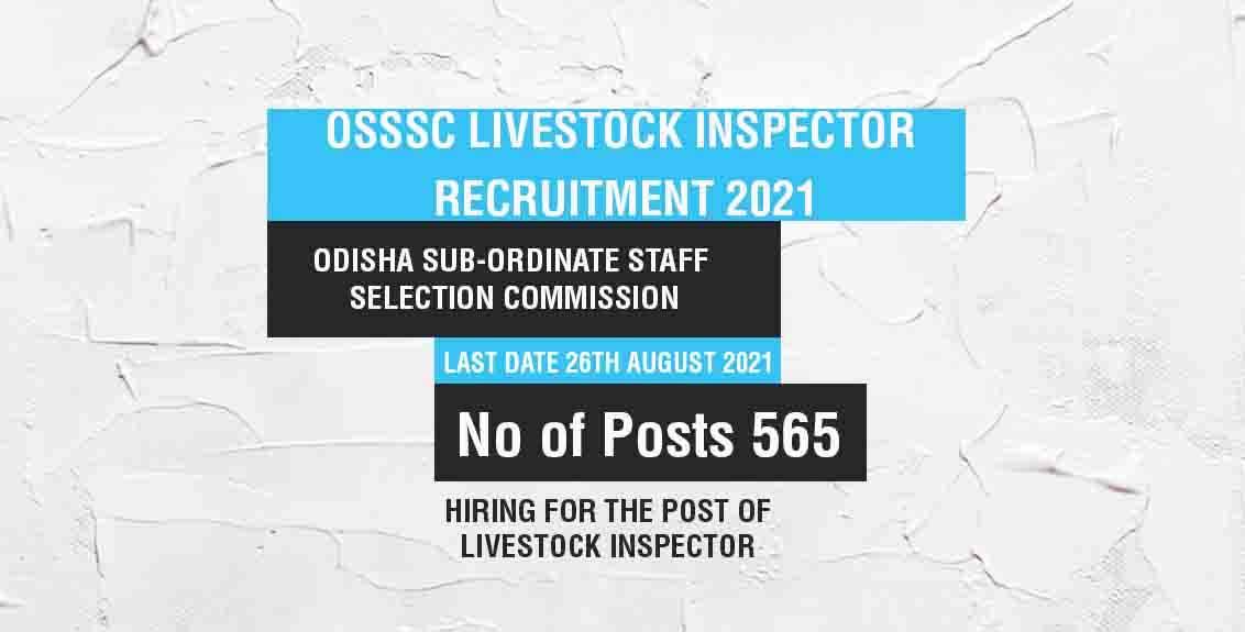 OSSSC Livestock Inspector Recruitment 2021 Job Listing thumbnail.