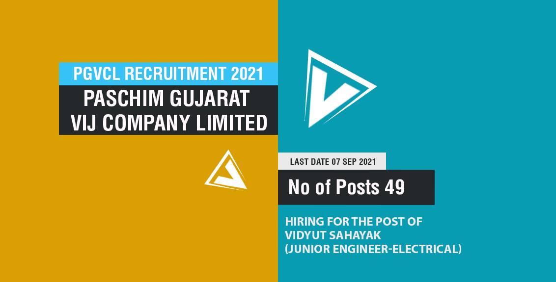 PGVCL Recruitment 2021 Job Listing thumbnail.