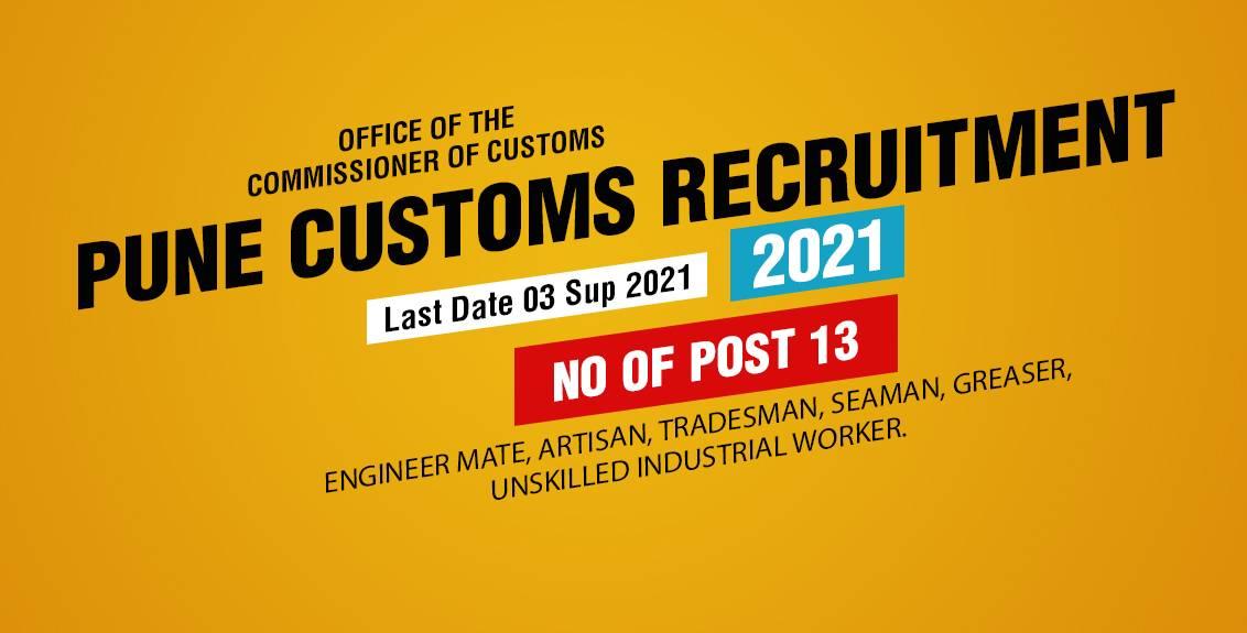 Pune Customs Recruitment 2021 Job Listing thumbnail.
