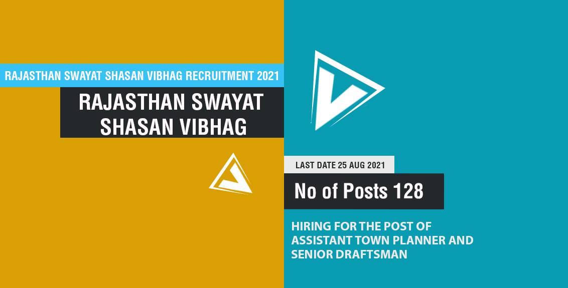 Rajasthan Swayat Shasan Vibhag Recruitment 2021 Job Listing thumbnail.