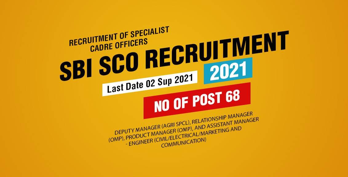 SBI SCO Recruitment 2021 Job Listing thumbnail.