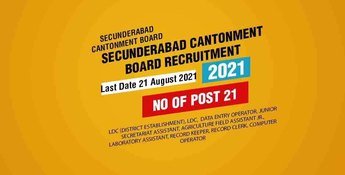 Secunderabad Cantonment Board Recruitment 2021 Job Listing thumbnail.
