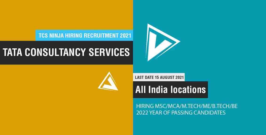 TCS Ninja Hiring Recruitment 2021 Job Listing thumbnail.
