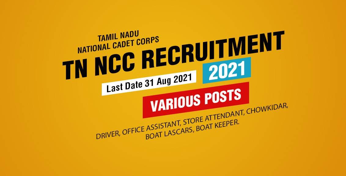 TN NCC Recruitment 2021 Job Listing thumbnail.