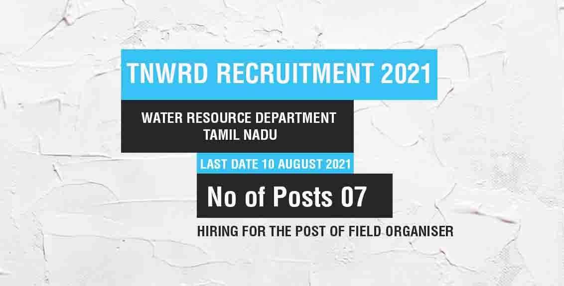 TNWRD Recruitment 2021 job listing thumbnail.