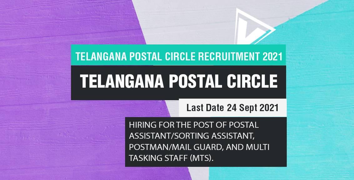 Telangana Postal Circle Recruitment 2021 Job Listing Thumbnail.