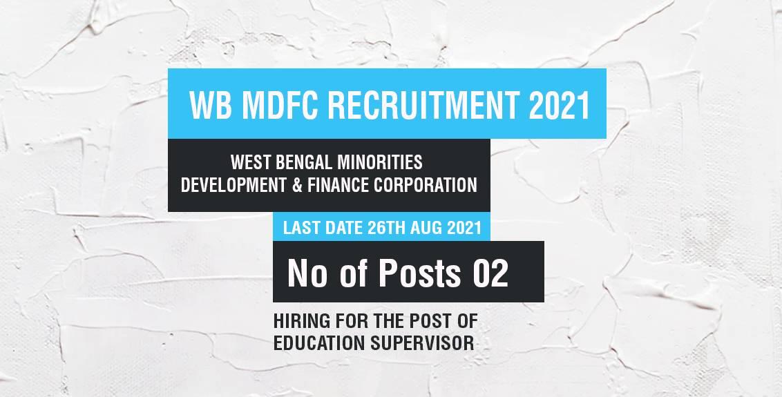 WB MDFC Recruitment 2021 Job Listing thumbnail.