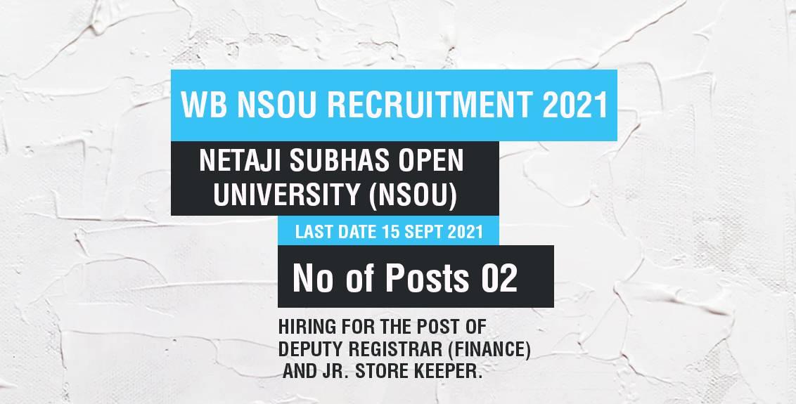 WB NSOU Recruitment 2021 Job Listing thumbnail.