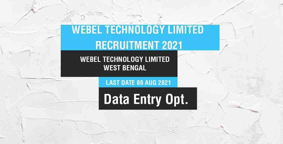 Webel Technology Limited Recruitment 2021 Job Listing thumbnail.