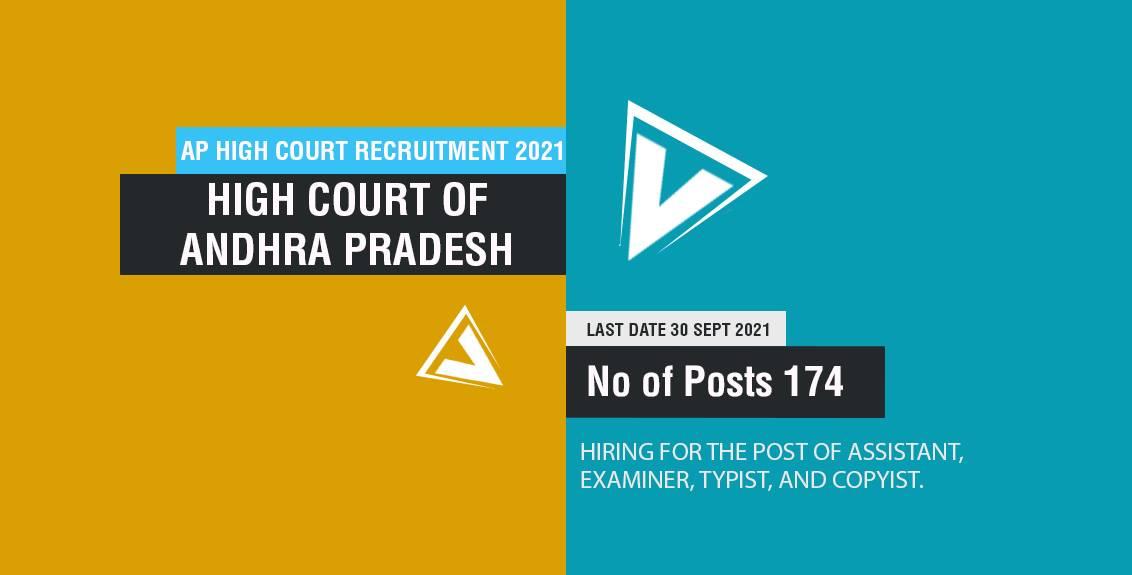 AP High Court Recruitment 2021 Job Listing thumbnail.