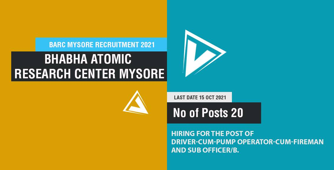BARC Mysore Recruitment 2021 Job Listing thumbnail.