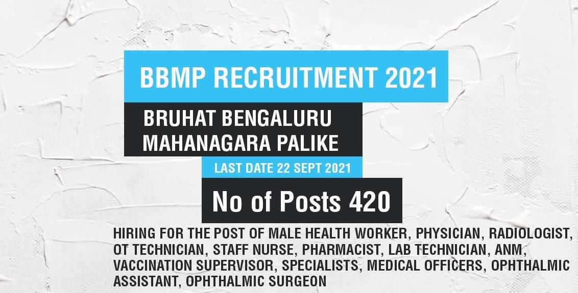 BBMP Recruitment 2021 Job Listing thumbnail.