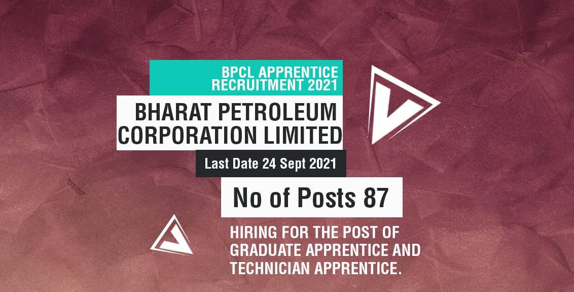 BPCL Apprentice Recruitment 2021 Job Listing thumbnail.