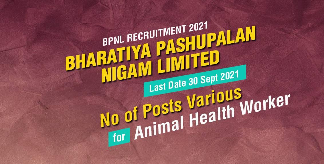 BPNL Recruitment 2021 Job Listing thumbnail.