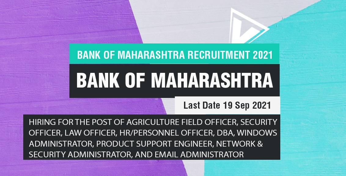 Bank of Maharashtra Recruitment 2021 Job Listing thumbnail.