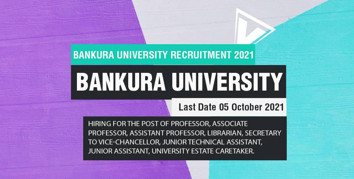Bankura University Recruitment 2021 Job Listing thumbnail.