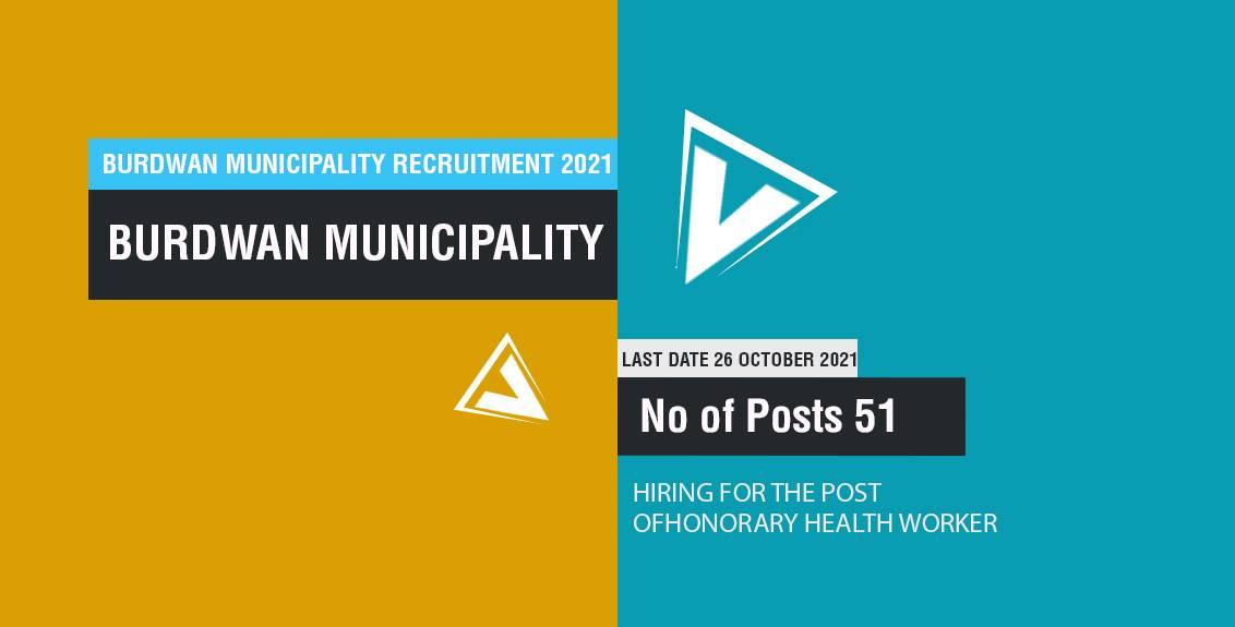 Burdwan Municipality Recruitment 2021 Job Listing thumbnail.