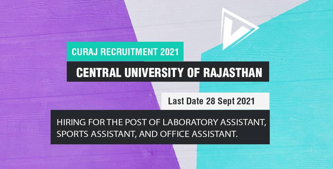 CURAJ Recruitment 2021 Job Listing thumbnail.