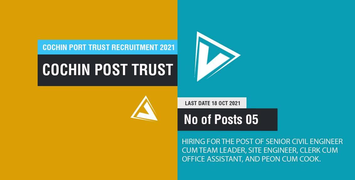 Cochin Port Trust Recruitment 2021 Job Listing thumbnail.