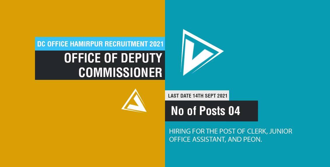 DC Office Hamirpur Recruitment 2021 Job Listing thumbnail.