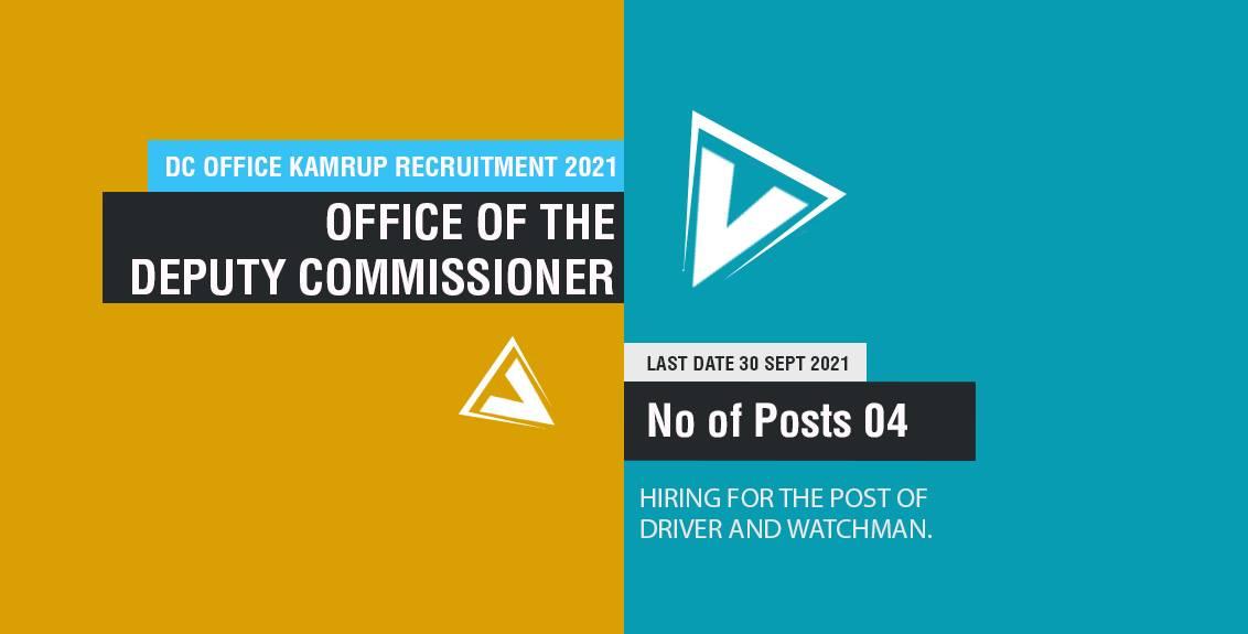 DC Office Kamrup Recruitment 2021 Job Listing thumbnail.