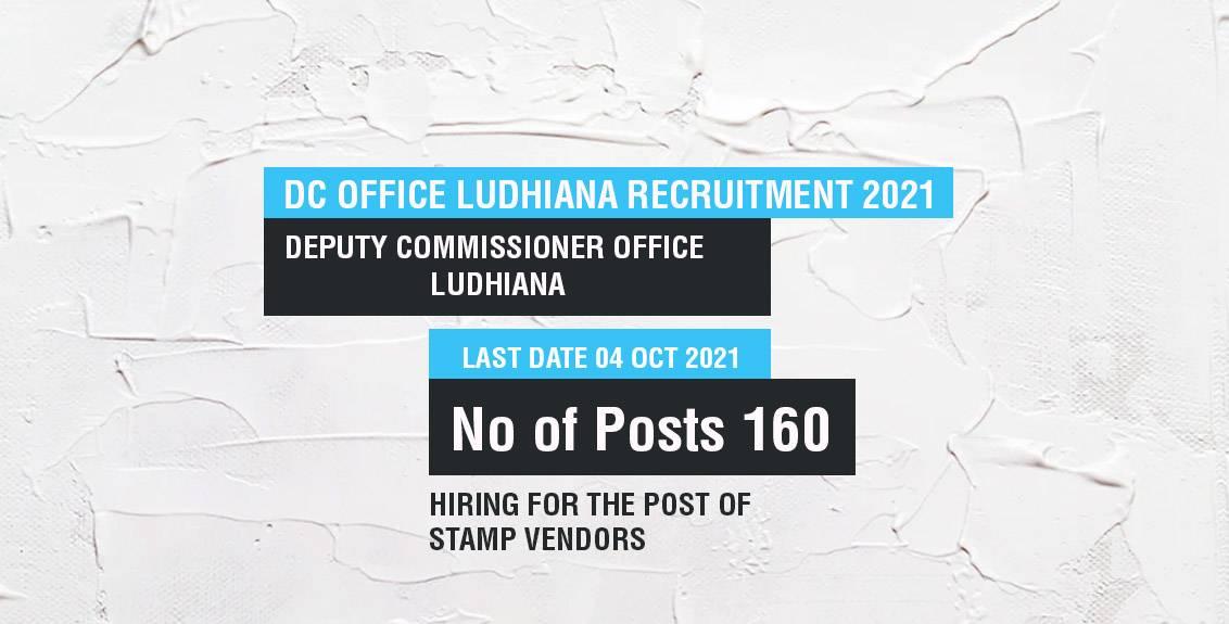 DC Office Ludhiana Recruitment 2021 Job Listing thumbnail.