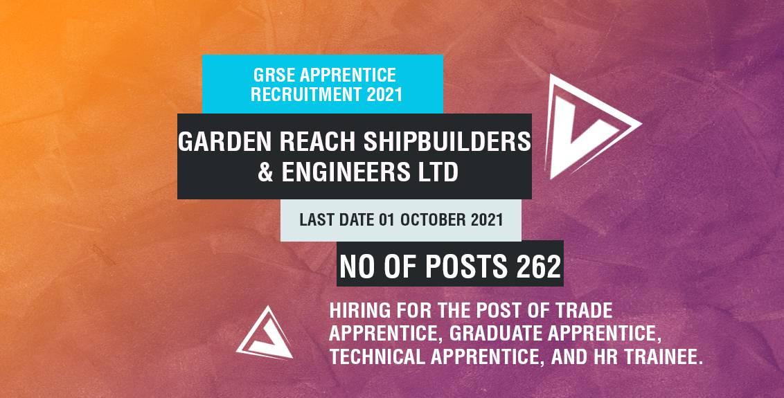 GRSE Apprentice Recruitment 2021 Job Listing thumbnail.