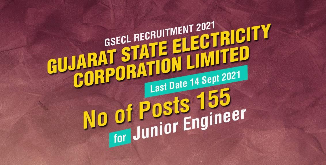 GSECL Recruitment 2021 Job Listing thumbnail.