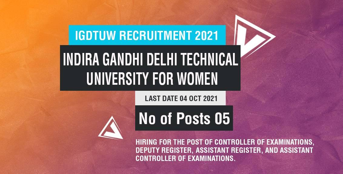 IGDTUW Recruitment 2021 Job Listing thumbnail.