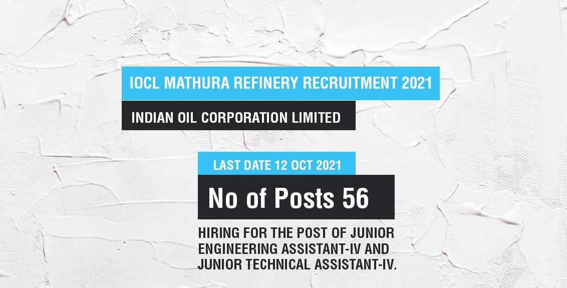 IOCL Mathura Refinery Recruitment Job Listing thumbnail.
