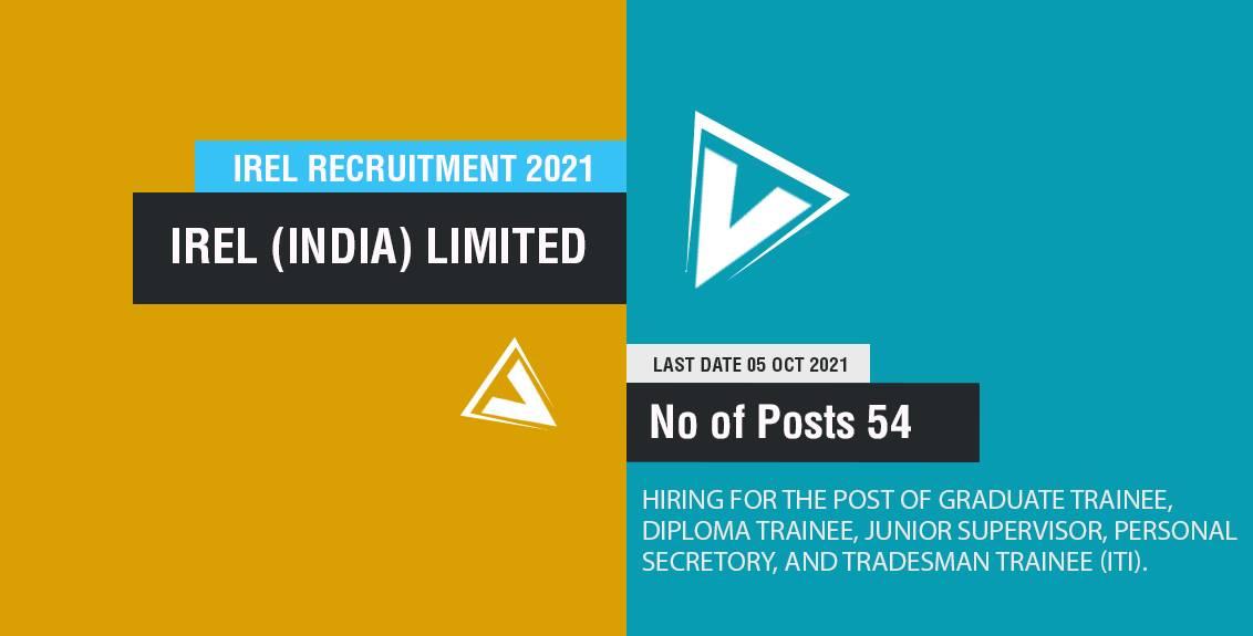 IREL Recruitment 2021 Job Listing thumbnail.