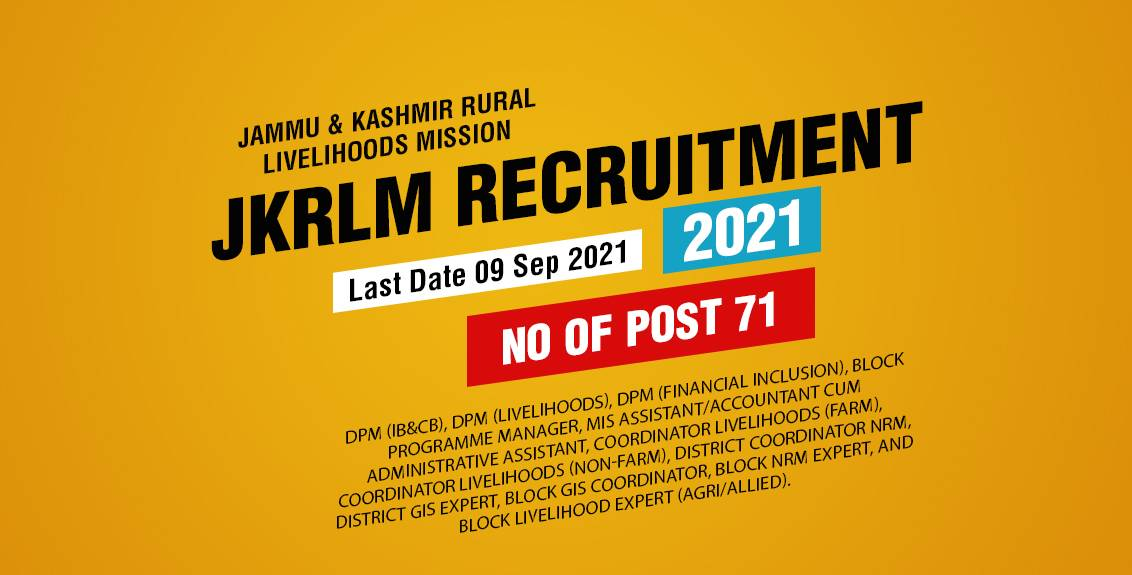 JKRLM Recruitment 2021 Job Listing thumbnail