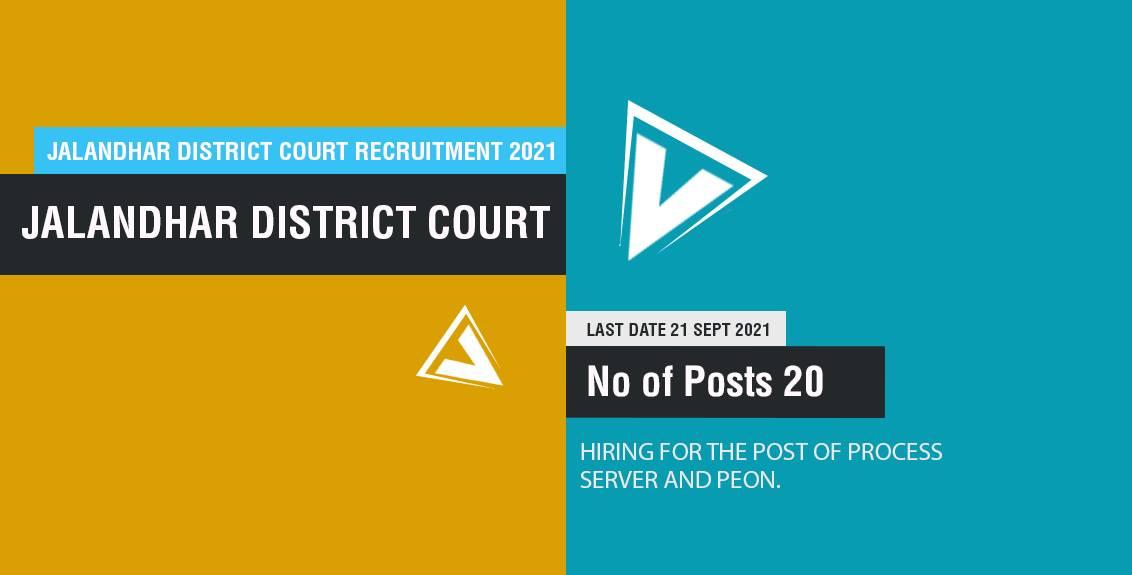 Jalandhar District Court Recruitment 2021 Job Listing thumbnail.