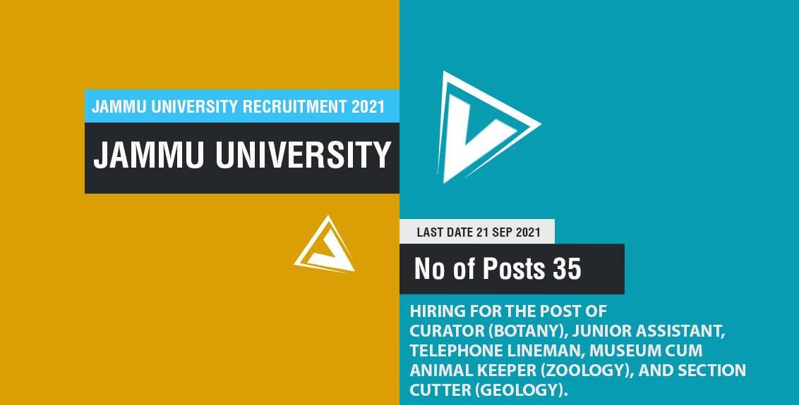 Jammu University Junior Assistant Recruitment 2021 Job Listing thumbnail.