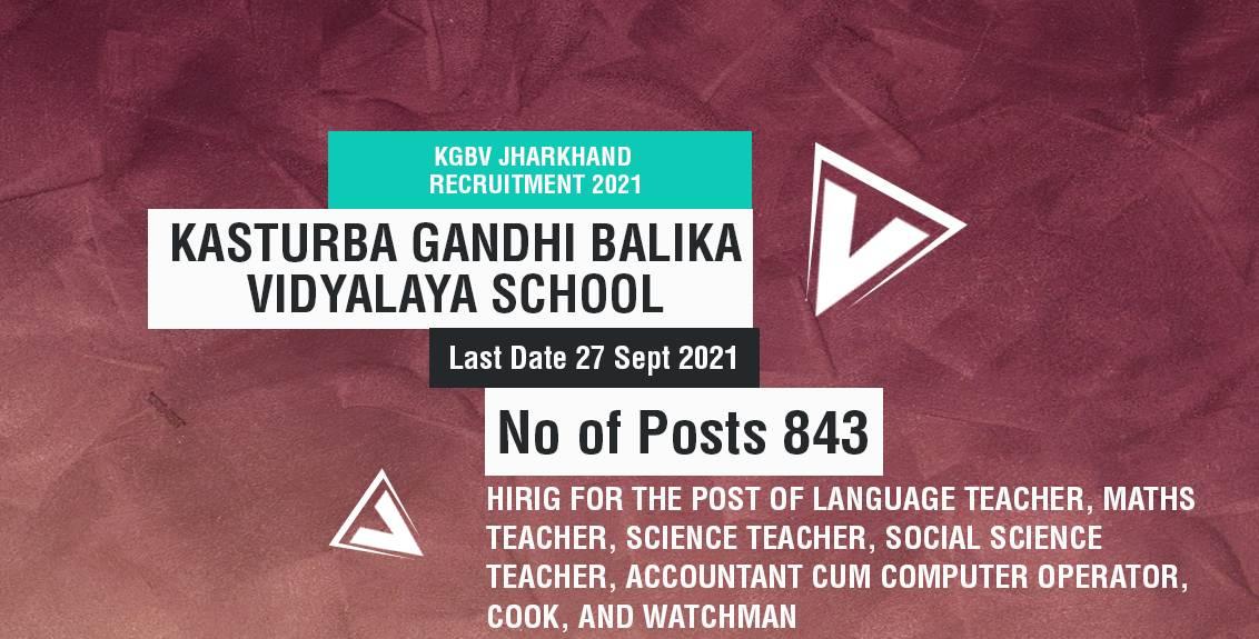 KGBV Jharkhand Recruitment 2021 Job Listing thumbnail.