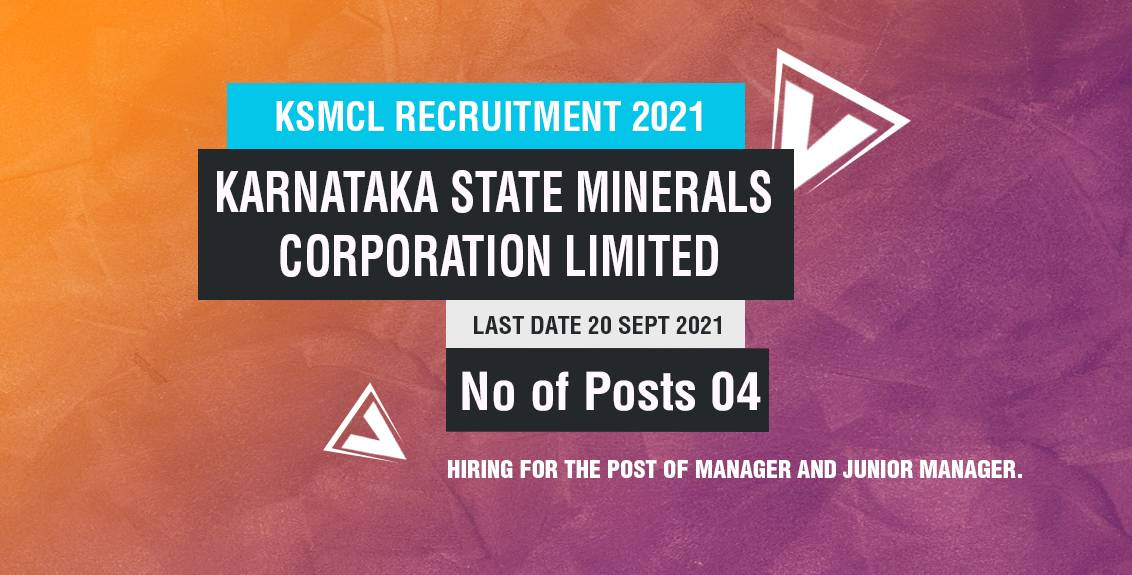 KSMCL Recruitment 2021 Job Listing thumbnail.