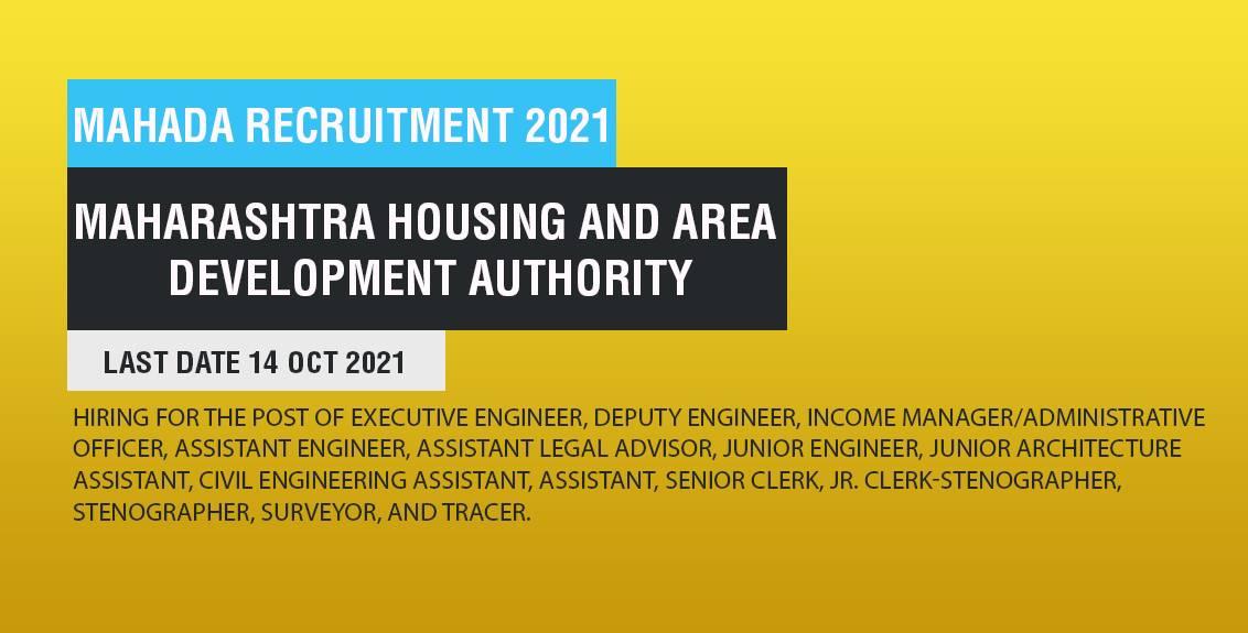MAHADA Recruitment 2021 job listing thumbnail.
