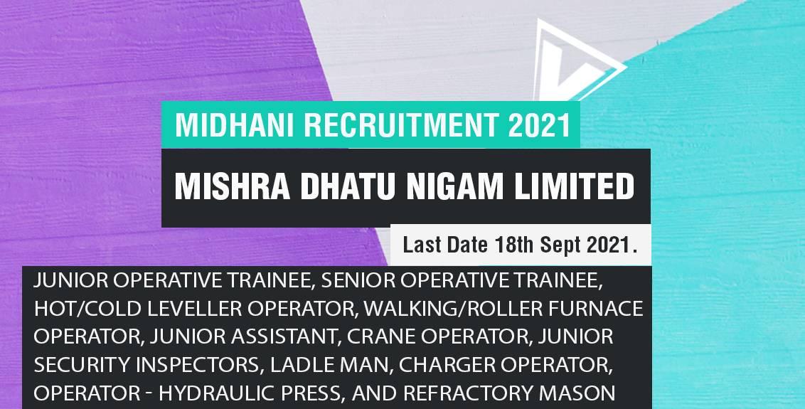 MIDHANI Recruitment 2021 Job Listing Thumbnail.
