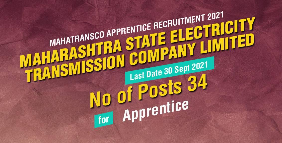 Mahatransco Apprentice Recruitment 2021 Job Listing thumbnail.